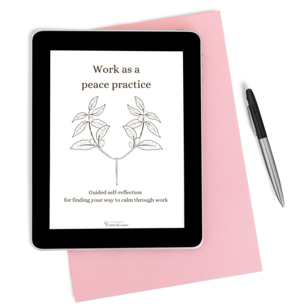 Tablet showing cover of Work as a peace practice journal with pink notebook and writing pen